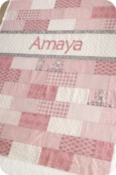 """Brick quilt with a name strip, uses 25 10"""" squares or use a layer cake plus fabrics for name strip, from: My Sew Called Life: I've Been a Quiltin'"""
