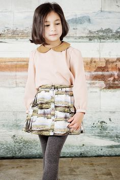 Jupe Paysage - I want this outfit! (obviously an adult version) Little Girl Outfits, Little Girl Fashion, Kids Outfits, Kids Fashion, Kid Styles, Mannequins, Kids Wear, Cool Kids, Cute Girls