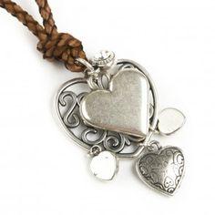 Bibi Bijoux short Brown Rope hearts charm necklace Confident Woman, Jewelry Branding, Heart Charm, Swarovski Crystals, Wedding Day, Hearts, Valentines, Charmed, Jewellery