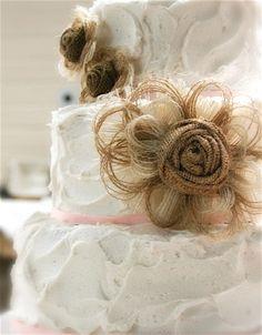 Burlap Flower Wedding Cake Topper Set of 3 - Rustic - Country Western - Vintage