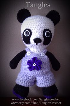 Panda in overalls crocheted by Tangles.