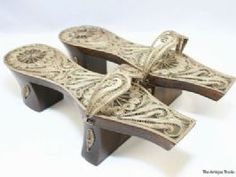 19c Antique Ottoman empire raised pedestal wood and filigree ladies shoes