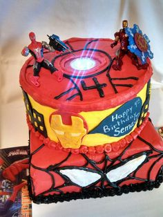 Iron man, Spider Man birthday cake for little boys or girls.  By Lakeisha Hill / Keck with Sweet Tooth Mother and Daughter Cakes. Knoxville, TN
