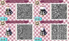 * My design * Classic grid dress * - Animal Crossing New Leaf - . - * My design * Classic grid dress * – Animal Crossing New Leaf – - Animal Crossing 3ds, Animal Crossing Qr Codes Clothes, Leaf Animals, Cute Animals, Motif Acnl, Ac New Leaf, Motifs Animal, Animal Games, My Design