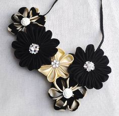Black and Beige Beauty - Fabric Kanzashi Flower Jewellery Set by Chomel