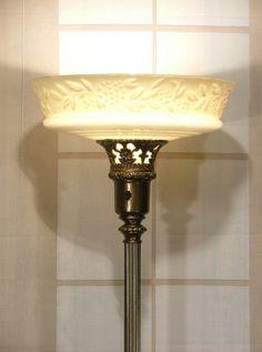 Antique Vintage Torchiereu0027 Floor Lamp W Glass Torch Light Shade RESTORED RS