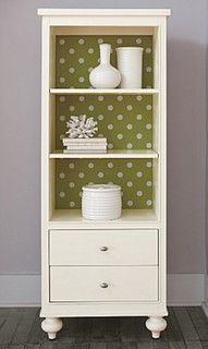 polka dot wallpaper on inside of shelves. I want to do this to my bookcase and china cabinet!