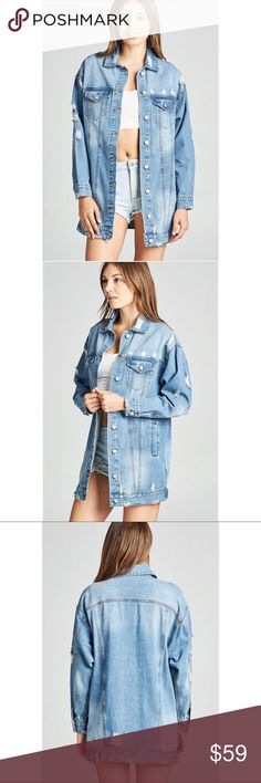 "New Arrival!!! Oversized Denim Jacket Distressed oversize long denim jacket.  100% Cotton Small Armpit to Armpit: Approx  21"" Length: Approx 31"" Medium  Armpit to Armpit: Approx 22"" Length: Approx 31"" Large  Armpit to Armpit: Approx 23"" Length:  Approx 31"" Item# B0002851112 Jackets & Coats Jean Jackets"