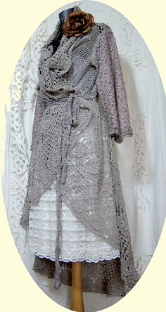 Gorgeous! SHABBY LACE CROCHET COAT by ~MAIDESTREASURIES on deviantART