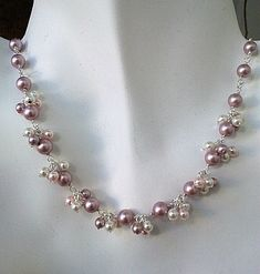 Powder Rose Pearl Flower Necklace Earrings Set by LaLaCrystal, $45.00