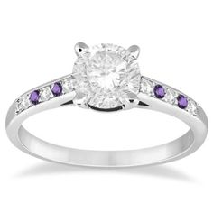 Cathedral Amethyst & Diamond Engagement Ring 14k White Gold (0.20ct), Women's, Size: 3