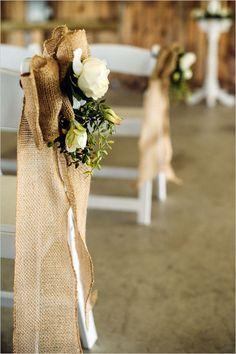 burlap and floral aisle decor