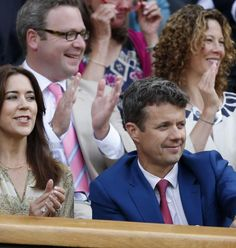 Crown Prince Frederik and Crown Princess Mary watched  Lukas Rosol of the Czech Republic and Rafael Nadal of Spain during their second round match of the Wimbledon Championships at the All England Lawn Tennis Club in London