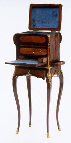 Secretary and jewel cabinet on stand by Anonymous from Paris, ca. 1760, Museum of Fine Arts, Boston, from the collection of Izabela Lubomirska, possibly a gift from Marie Antoinette