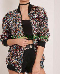 Glitter Womens Jacket Loose Long Sleeve Pilot Coat Colorful Short Casual Fashion