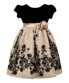 Loving this Black Velvet Floral Angel-Sleeve Dress - Toddler & Girls on #zulily! #zulilyfinds