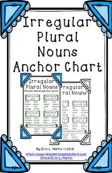 """This 11 x 17 inch anchor chart introduces and reinforces irregular, """"rule breaking"""" plural nouns.Examples are listed for several types of """"rule breakers"""".Includes color and black and white posters.*Please remember to rate my product* 6th Grade Ela, Second Grade Math, Grammar Anchor Charts, Irregular Plural Nouns, Nouns And Pronouns, Teacher Survival, Spelling Rules, Writing Ideas, Language Arts"""