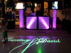 One of our DJ setups and one of our customized monograms.