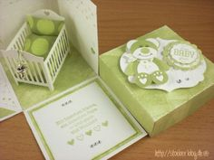 idea for baby explosion box ♥ love that only 2 of the panels fold down! Card In A Box, Pop Up Box Cards, Baby Congratulations Card, Exploding Box Card, New Baby Cards, Baby Shower Cards, Marianne Design, Baby Scrapbook, Kirigami