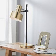 Illuminate your space with the bold midcentury modern style of this aimable desk lamp. The fashion forward oversized shade is fully adjustable, and can be moved up or down the body of the fixture for maximum light customization. Rustic Lamps, Antique Lamps, Antique Brass, Gold Vanity Mirror, Best Desk Lamp, House Lamp, Bedroom Lamps, Bedroom Ideas, Master Bedroom