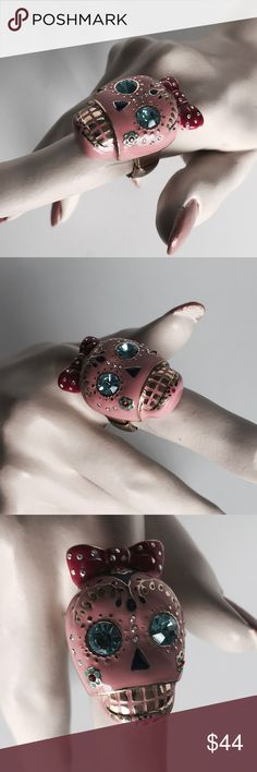 Betsey Johnson ring Pink day of the dead candy skull ring with rhinestone detail and a gold stretch back band Betsey Johnson Jewelry Rings