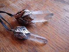 """"""" Gold, Silver, and Copper Leaf Crystal necklaces (by MaevinWren's Craft) """""""