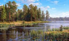 Forest River Painting - Forest Lake by Basov Watercolor Landscape, Landscape Art, Landscape Paintings, River Painting, Lake Art, Seen, Seascape Paintings, Lake View, Fine Art America