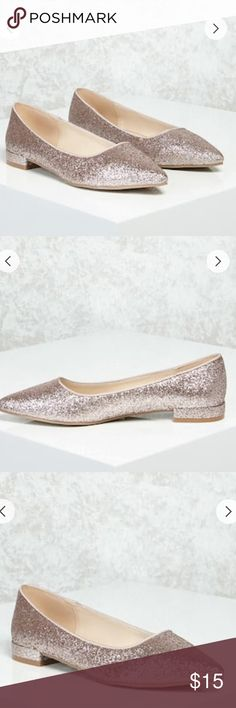 Forever 21 Rose Gold Glitter Flats Beautiful rose gold flats in size 8. Please note - the rose gold color appears very pinkish in person. I will add actually photos shortly. Forever 21 Shoes Flats & Loafers