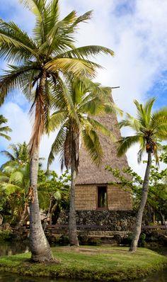 A traditional Hawaiian hut at the Polynesian Cultural Center - Oahu, Hawaii