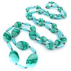 Vintage Art Deco Peking Glass Striped Green Foil Glass Bead Necklace | Clarice Jewellery | Vintage Costume Jewellery