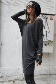 Sexy Casual Top / Grey Soft Fabric / Loose Tunic A01060 by Aakasha, $55.00