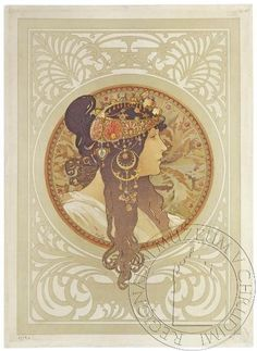 The Byzantine Heads Brunette By Alphonse Mucha . Truly Art Offers Giclee Unframed Prints on Paper, Canvas Art, and Framed Art in all our Collections. Art Nouveau Prague, Illustrator, Alphonse Mucha Art, Illustration Art Nouveau, Kunst Poster, Vintage Poster, Belle Epoque, New Art, Find Art