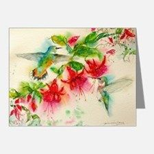 Hummingbirds in Fuschia Garden 2 Note Cards for