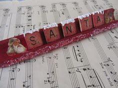 Scrabble Tile Santa Word ~ The Paper Collage store