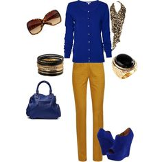 electric blue and mustard yellow