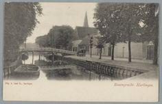 De Rozengracht met Wasbleekbrug (afgebroken 1929) en rechts Stadsschouwburg (afgebrand 1909).