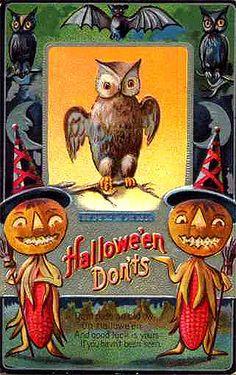 Ears of Corn Pumpkin Witches--Halloween Dont's--Vintage Halloween Postcard