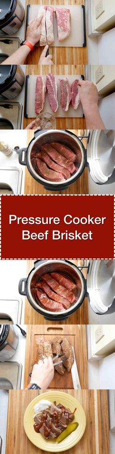 Pressure Cooker Beef Brisket - tender beef brisket, ready in about an hour and a half thanks to the pressure cooker. Beef Brisket Pressure Cooker, Pork Brisket, Beef Brisket Recipes, Pork Recipes, Crockpot Recipes, Instapot Recipes Paleo, Zoodle Recipes, Whole30 Recipes, Power Cooker Recipes