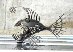 Art Metal sculpture Angler fish. Steampunk predatory fish figurine. Statuette Metal Angler fish. Art recycled metal fish Steampunk.
