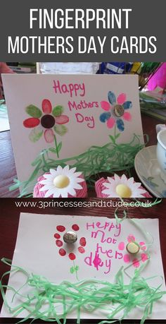 A one of a kind Mothers Day Gift. Fingerprint Flowers Mothers Day Card