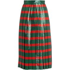 Gucci Striped pleated lamé skirt (86.390 RUB) ❤ liked on Polyvore featuring skirts, green stripe, green skirt, midi skirt, stripe skirts, green midi skirt and knife-pleated skirts