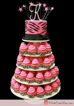 Pink Zebra Print Cupcake Tower by Pink Cake Box in Denville, NJ.  More photos at http://blog.pinkcakebox.com/pink-zebra-print-cupcake-tower-2012-01-25.htm  #cakes