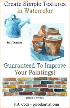 Creating Textures in Watercolor – Guaranteed to Improve Your Paintings! Creating textures in watercolor paintings is easy with a few simple techniques. Watercolor Tips, Watercolour Tutorials, Watercolor Techniques, Watercolor Pencils, Watercolour Painting, Painting Techniques, Painting Tutorials, Watercolors, Watercolor Landscape