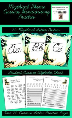 Free write like a pirate cursive writing practice set coupon code cursive handwriting packet with a mythical theme fandeluxe Image collections