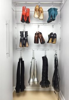 Boot storage: Hanging Boot Organizer with Boot Hangers Stilettos, Boot Organization, Boot Storage, Wardrobe Room, Black Velvet Dress, Kids Boots, Shoe Closet, Dress Codes, Ladies Day