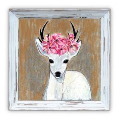 Flower Deer /Stag / Poster Print / Art Print / Mixed Media / Painting /Illustration / 400mmx400mm by FierceandDandy on Etsy