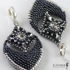 Hematytowe,bogate kolczyki w stylu indyjskim - Kolczyki - Biżuteria