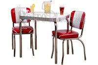 Channel Back Chair & Table Set #retro #diner - shown in Zodiac Burgundy http://www.retroplanet.com/PROD/14558