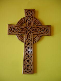 Wood Carved Celtic Cross