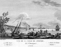 """""""Vue de la Ville de Jeremie, Isle St Domingue"""", 1795, Nicolas Ozanne                                                                                                                                                                                 More"""